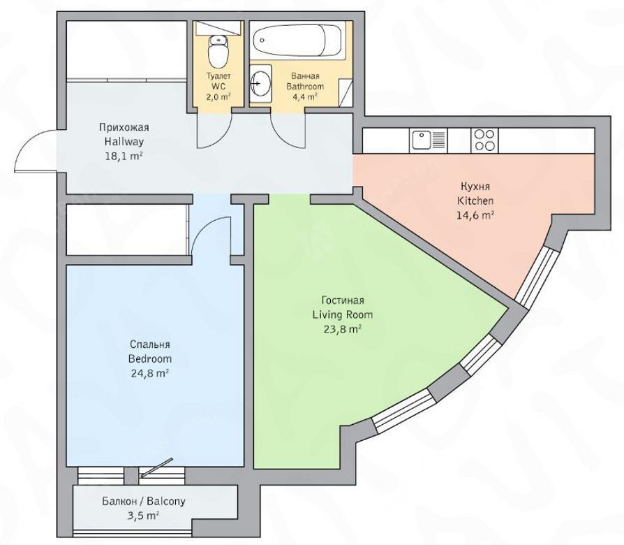 2-комнатная квартира, Детская ул, 18 - фото 6