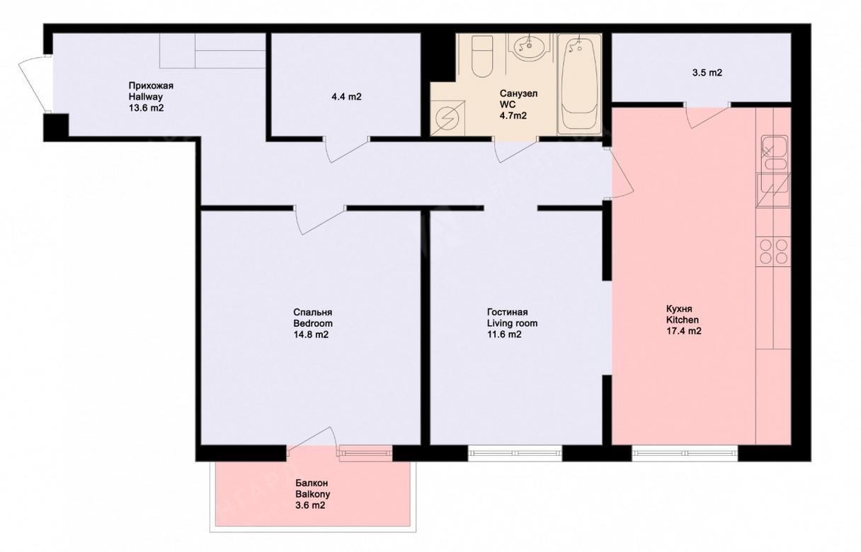 2-комнатная квартира, Обводного канала наб, 108к4 - фото 6