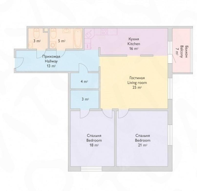 3-комнатная квартира, Реки Смоленки наб, 35 - фото 15