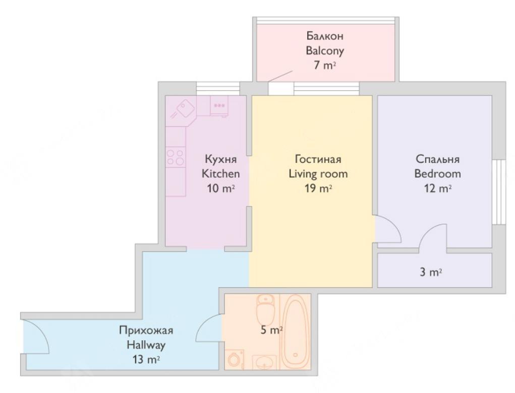 2-комнатная квартира, Реки Смоленки наб, 35 - фото 8