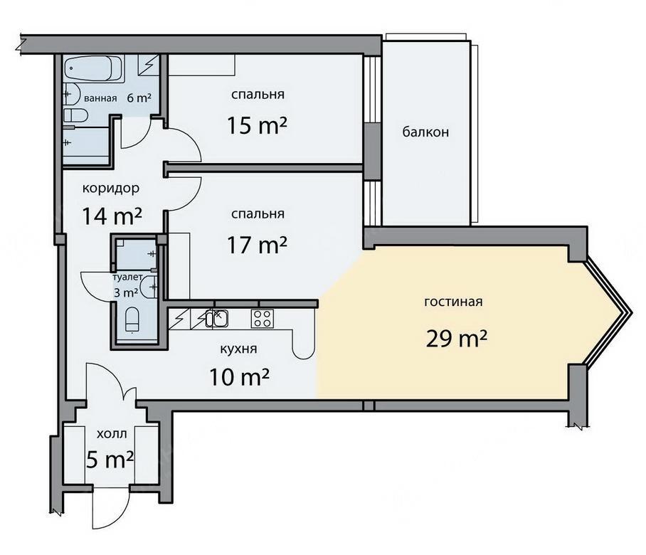 3-комнатная квартира, Шпалерная ул, 60 - фото 9