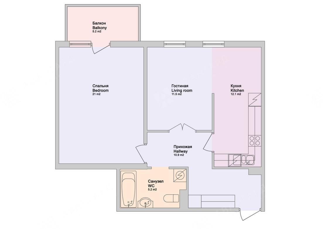 2-комнатная квартира, Обводного канала наб, 108 - фото 12