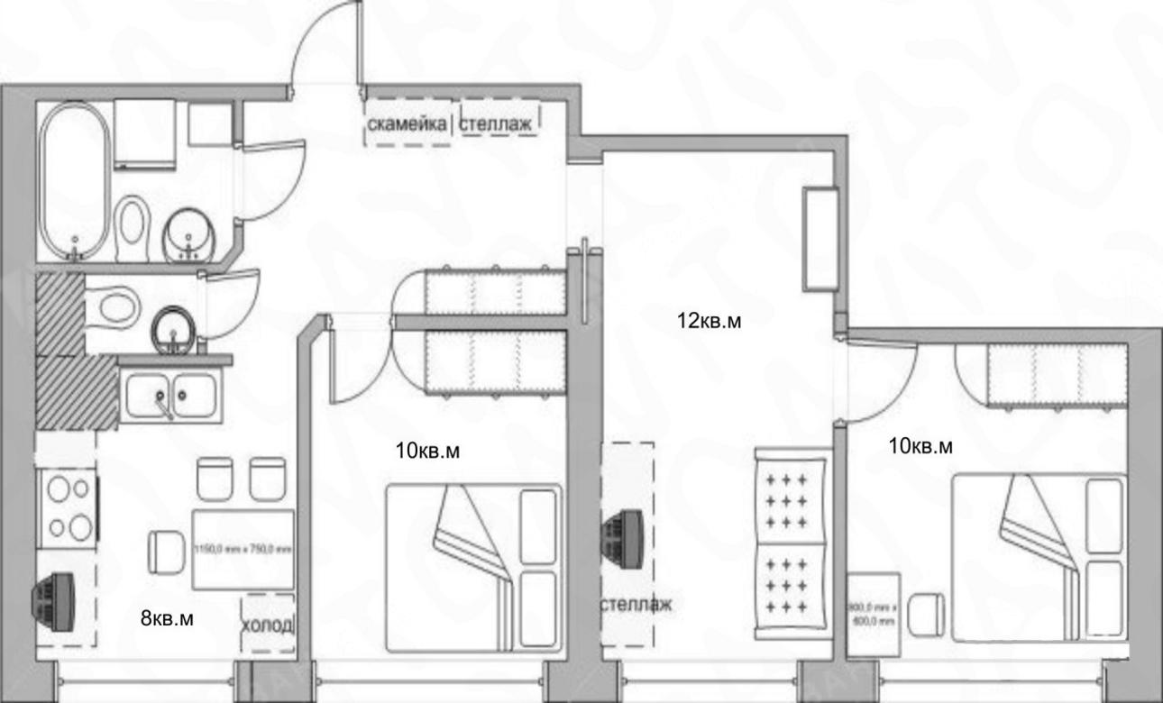 3-комнатная квартира, Маршала Блюхера пр-кт, 36к1 - фото 17