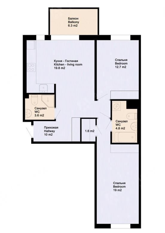 3-комнатная квартира, Аптекарский пр-кт, 18 - фото 19