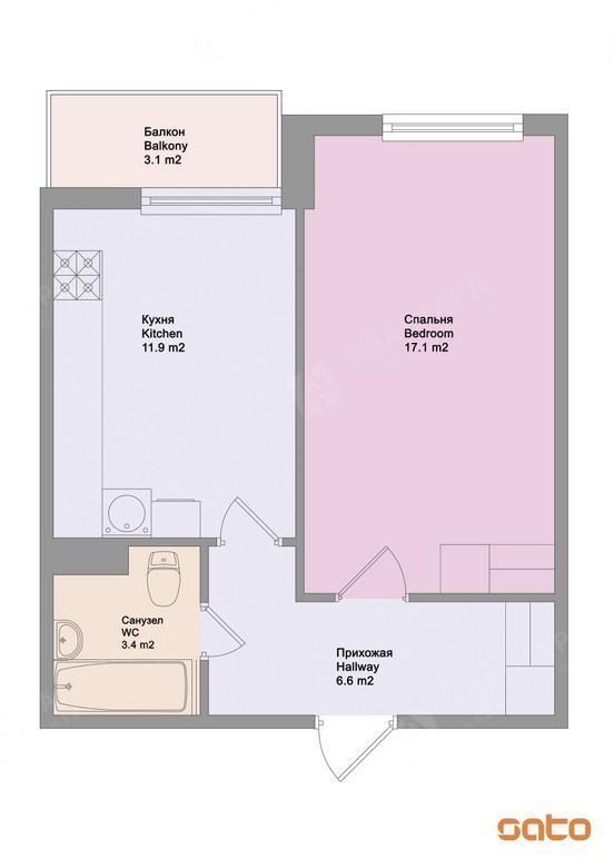 1-комнатная квартира, Московский пр-кт, 73к4 - фото 6