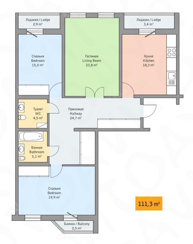 3-комнатная квартира, Детская ул, 18 - фото 7