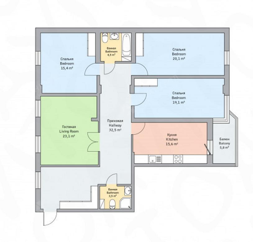 4-комнатная квартира, Детская ул, 18 - фото 12