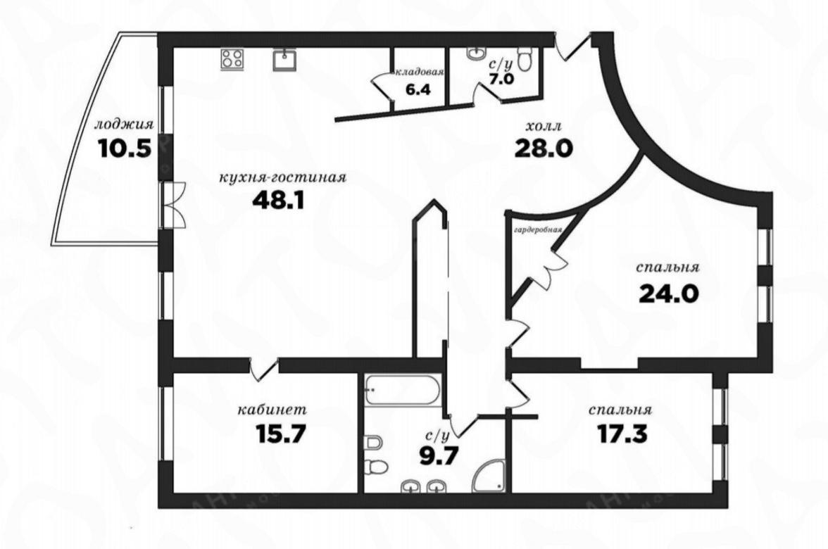 3-комнатная квартира, Морской пр-кт, 11 - фото 12
