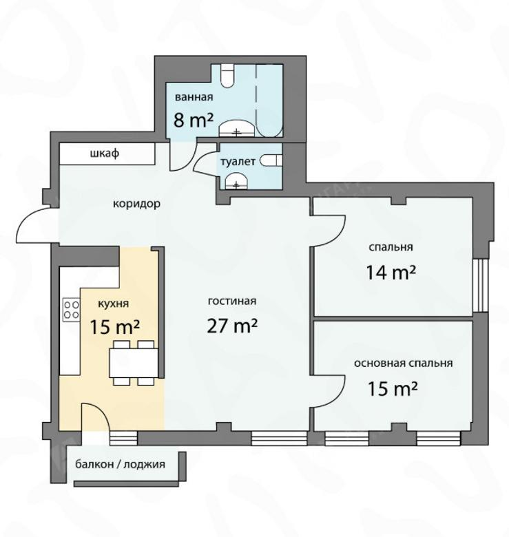 3-комнатная квартира, Графтио ул, 5 - фото 12