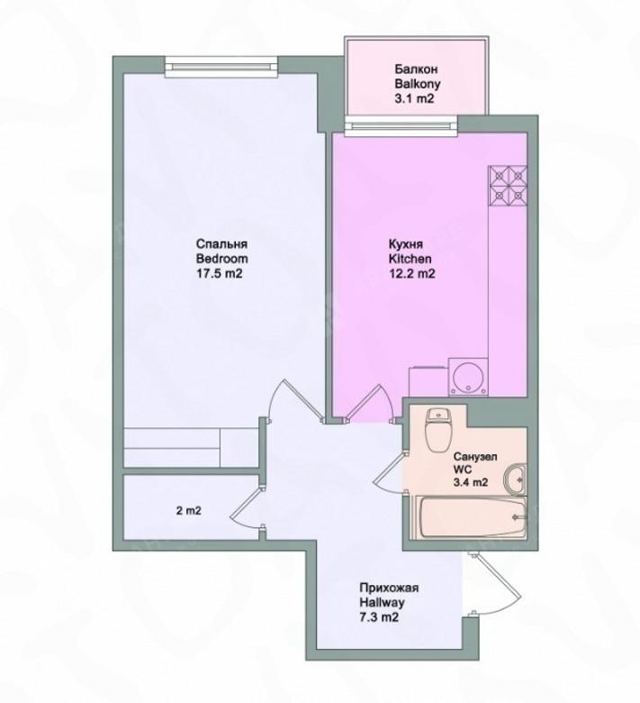 1-комнатная квартира, Московский пр-кт, 73к4 - фото 8