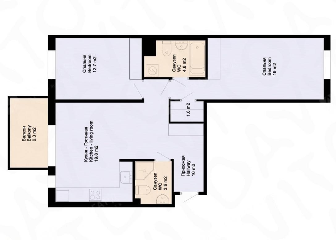 3-комнатная квартира, Аптекарский пр-кт, 18 - фото 10