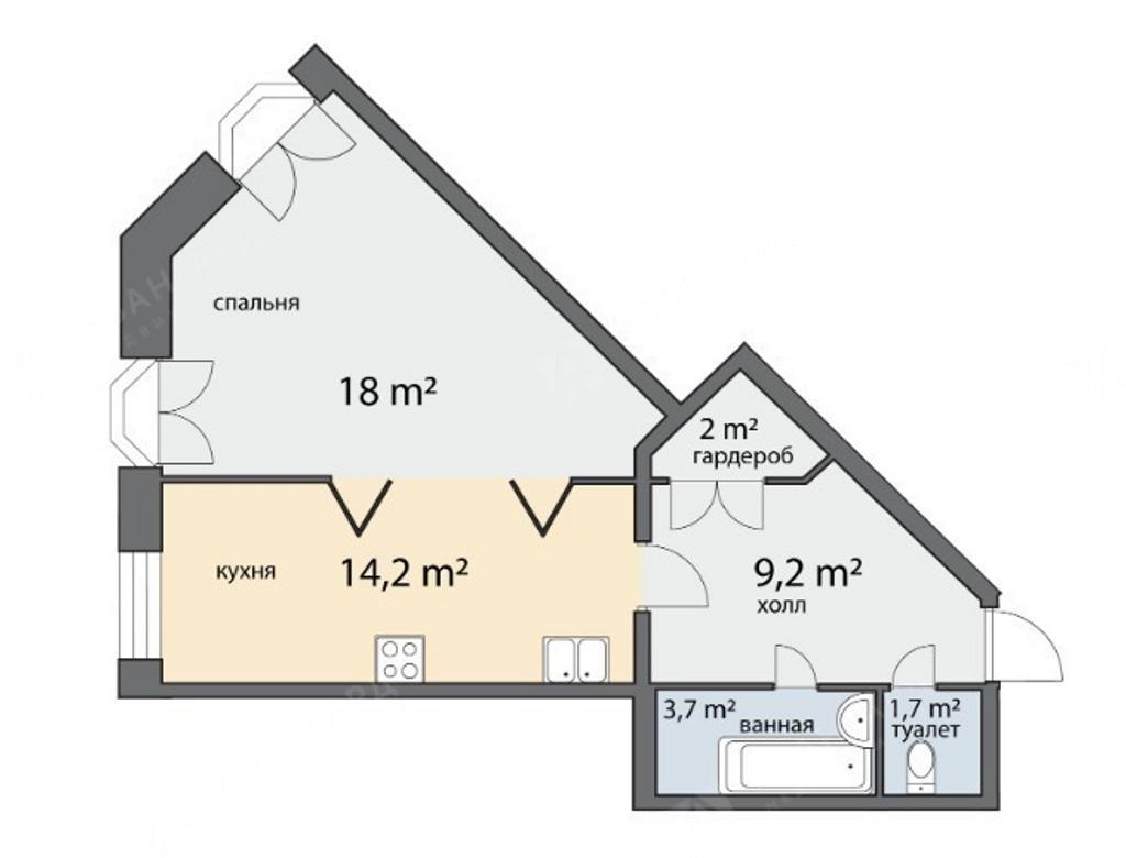 1-комнатная квартира, Чернышевского пр-кт, 4 - фото 6