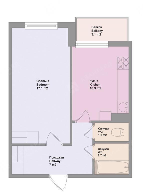 1-комнатная квартира, Московский пр-кт, 73к4 - фото 10