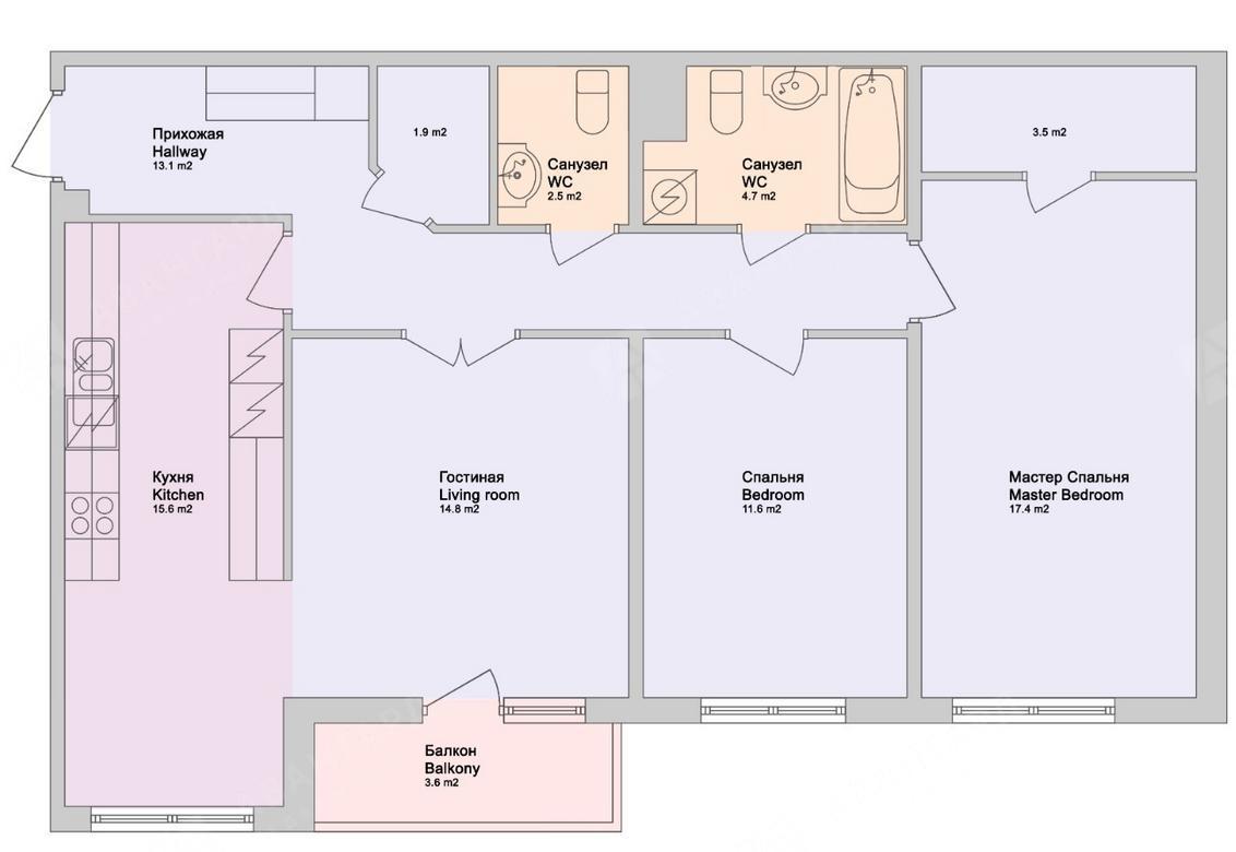 3-комнатная квартира, Обводного канала наб, 108 - фото 7