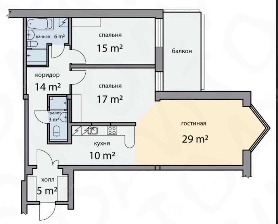 3-комнатная квартира, Шпалерная ул, 60 - фото 10