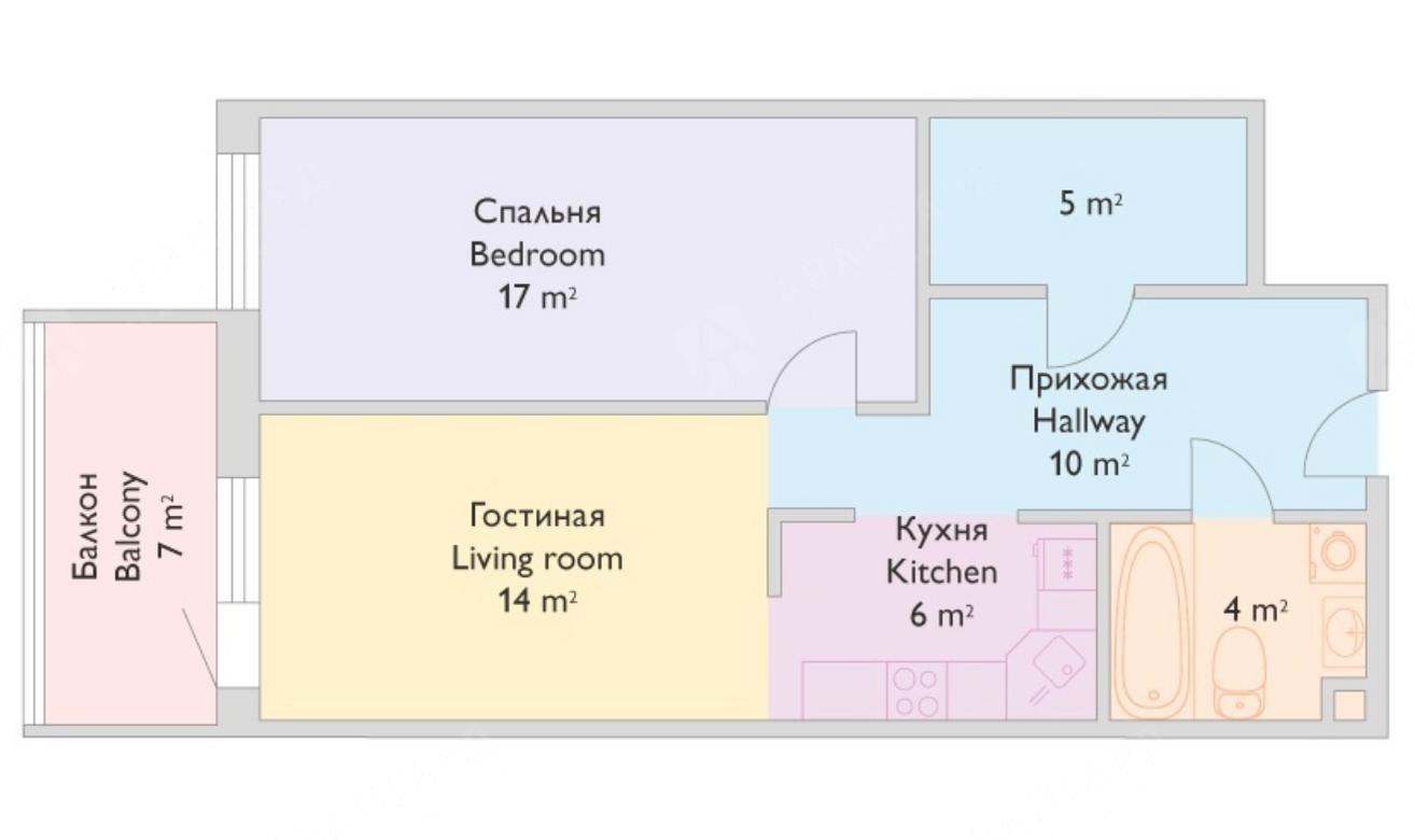2-комнатная квартира, Реки Смоленки наб, 35к1 - фото 11