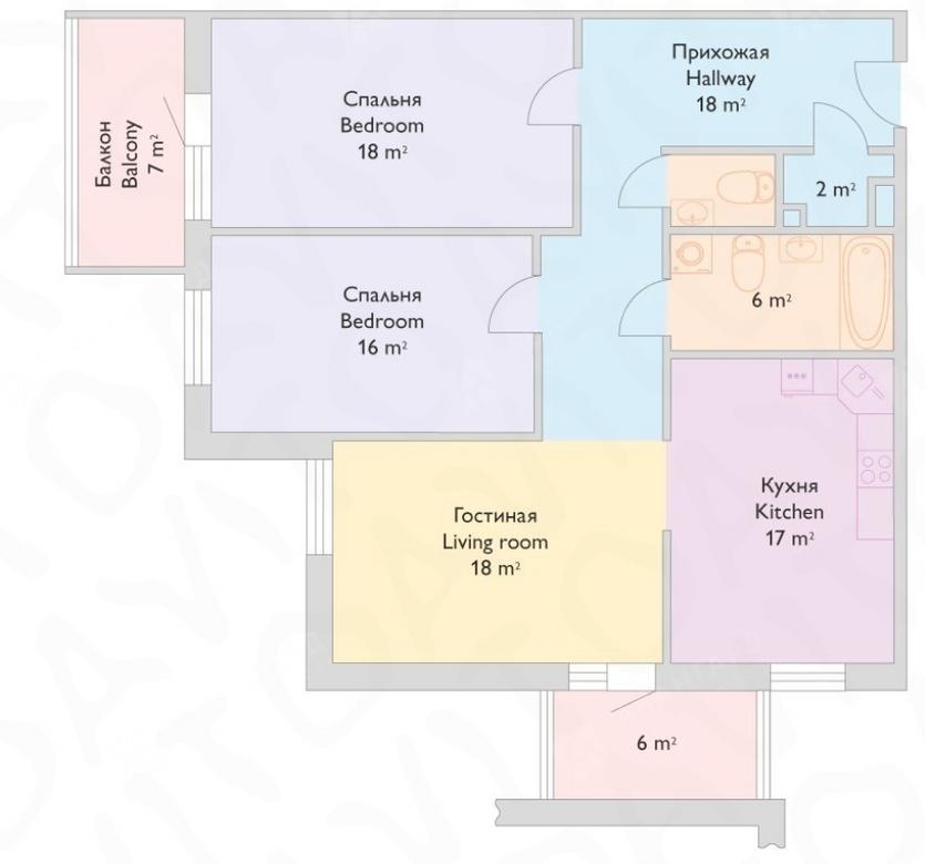 3-комнатная квартира, Реки Смоленки наб, 35к1 - фото 11