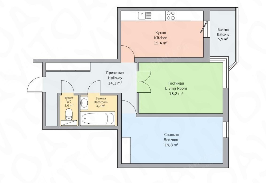 2-комнатная квартира, Детская ул, 18 - фото 5