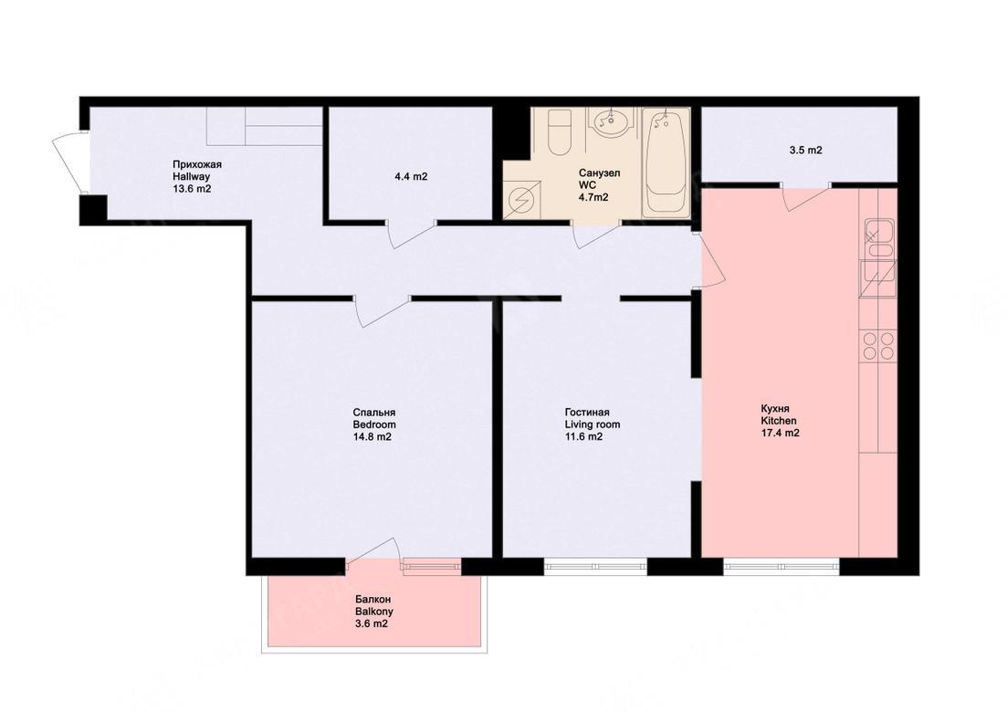 2-комнатная квартира, Обводного канала наб, 108 - фото 8